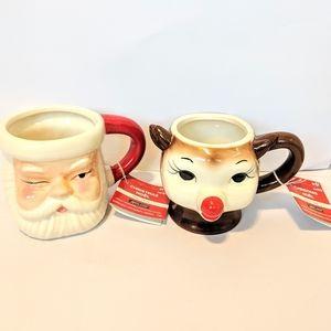 Holiday Mugs Winking Santa and sidekick Rudolph